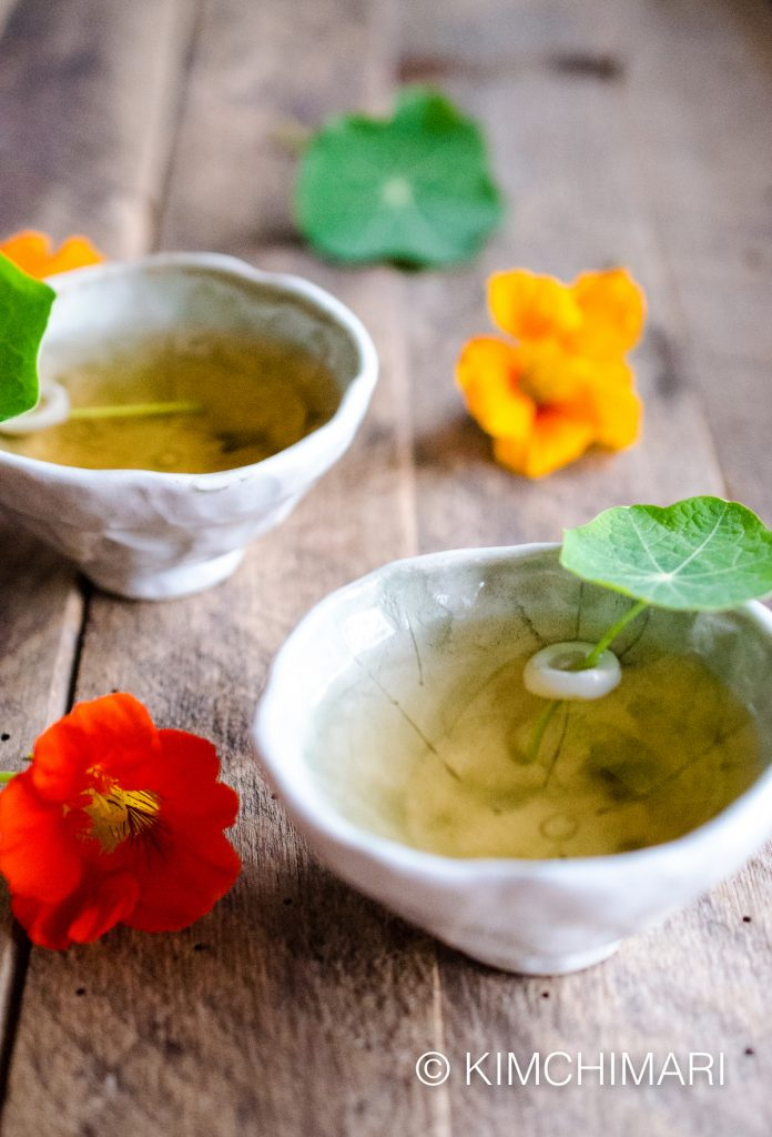 Korean Green Tea with Nasturtiums
