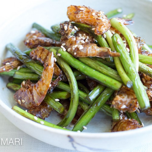 Garlic Scape Stir Fry with Dried Shrimp (Maneuljjong Bokkeum)
