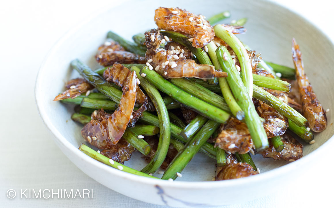 Garlic Scapes Stir Fry with Dried Shrimp (Maneuljjong ...