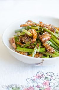 Garlic Scape Stir Fry with Shrimp (Maneuljjong Bokkeum 마늘쫑 볶음)
