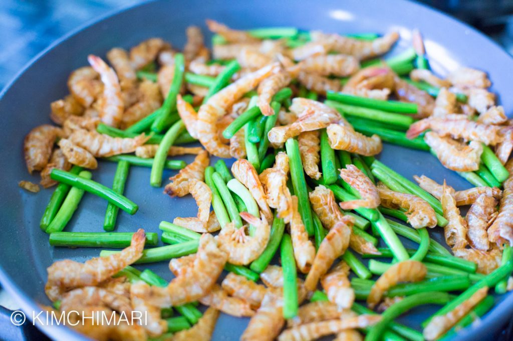Garlic Scape Stir Fry with Shrimp Maneuljjong Bokkeum