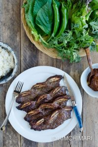Kalbi Korean Short Ribs with Ssam (Lettuce Wraps), Ssamjang and Rice