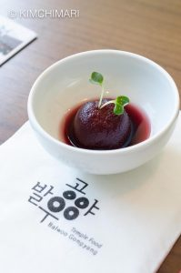 Korean Temple Food Cherry Tomato in Fermented Bokbunja (Korean wild raspberry) Sauce