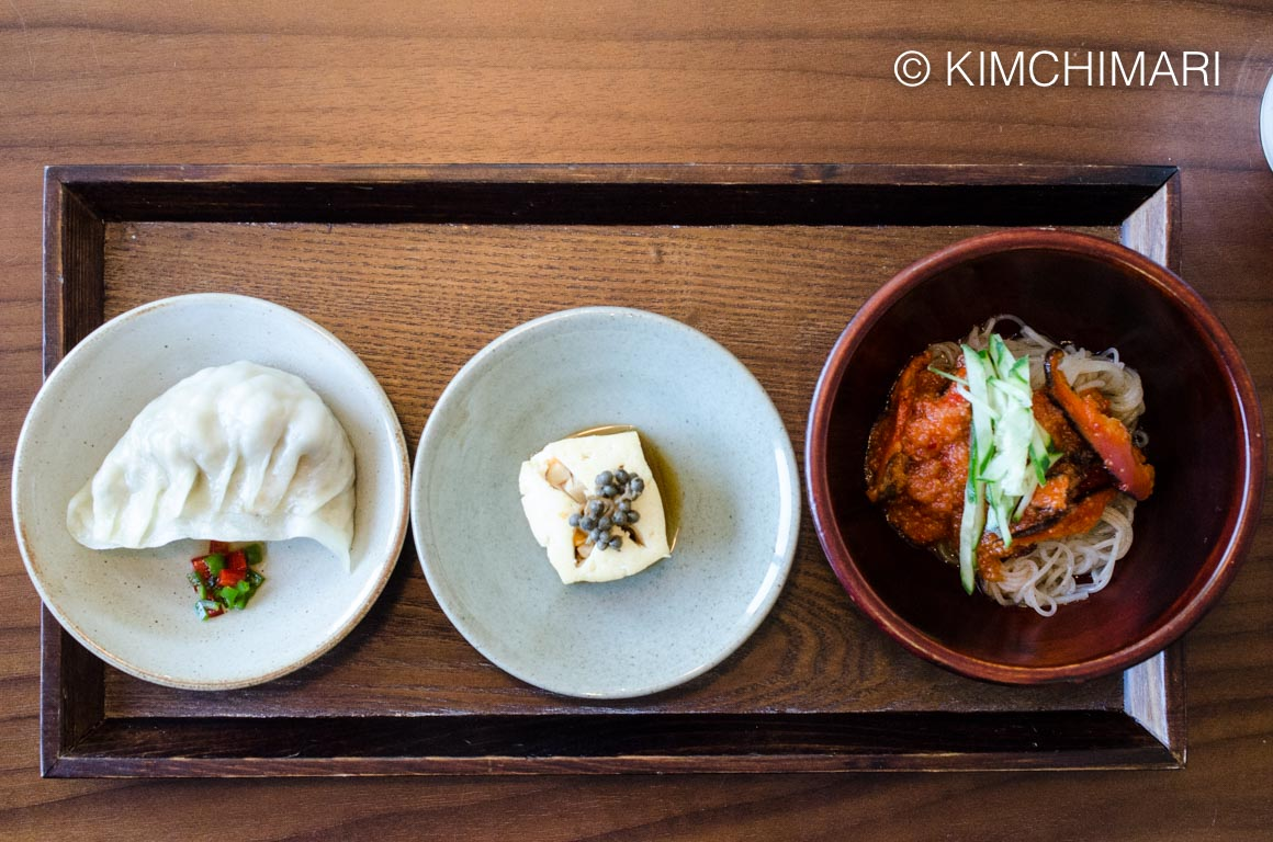 KoreanTempleFood Dumplings, Dubuseon and naengmyeon