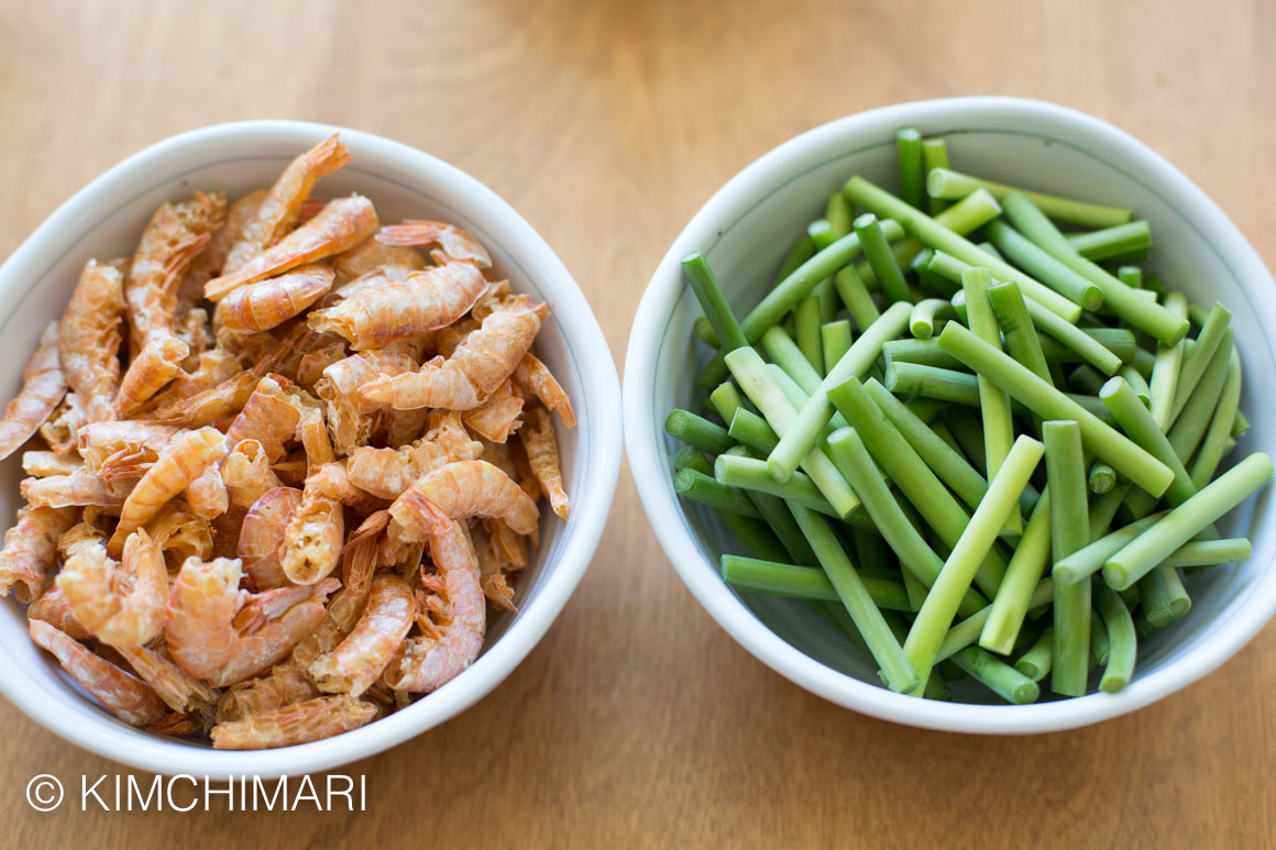 Shrimp and Garlic scapes for Maneuljjong Bokkeum