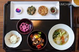 TempleFood Dammi - Sweet Sour Mushrroms and banchan