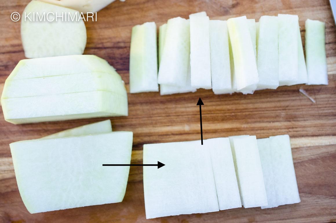 Cutting Radish for Water Kimchi