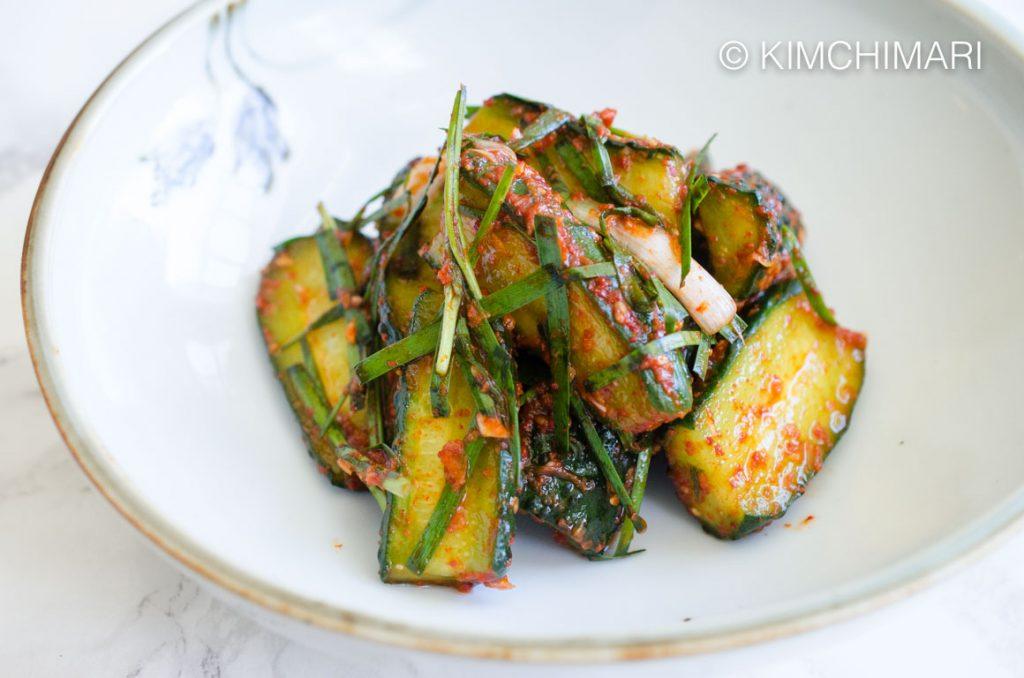 Cucumber Kimchi (Oi Kimchi) closeup