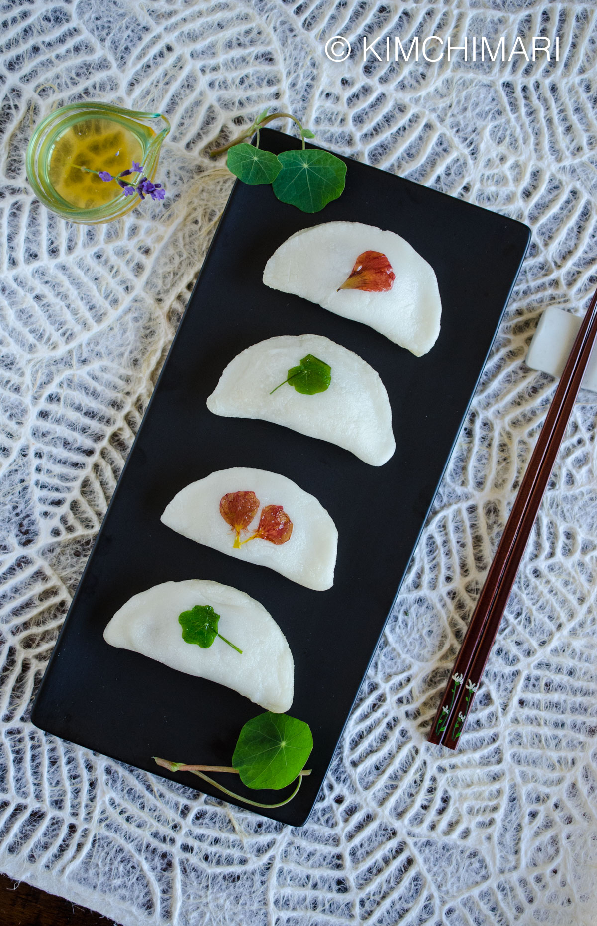 Pan-Fried Rice Cake Dumplings (Bukkumi) with Nasturtiums