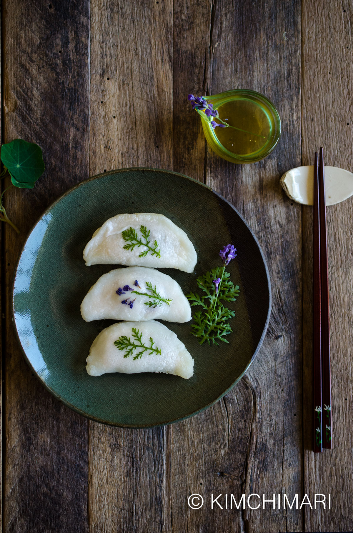Pan-fried Rice Cake Dumplings (Bukkumi) filled with Sweet Red Beans with Fresh Ssukat and Lavender