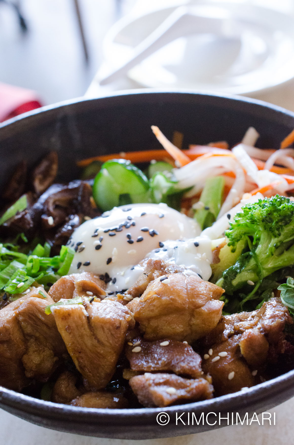 Teriyaki Chicken and Poached Egg with Veggies