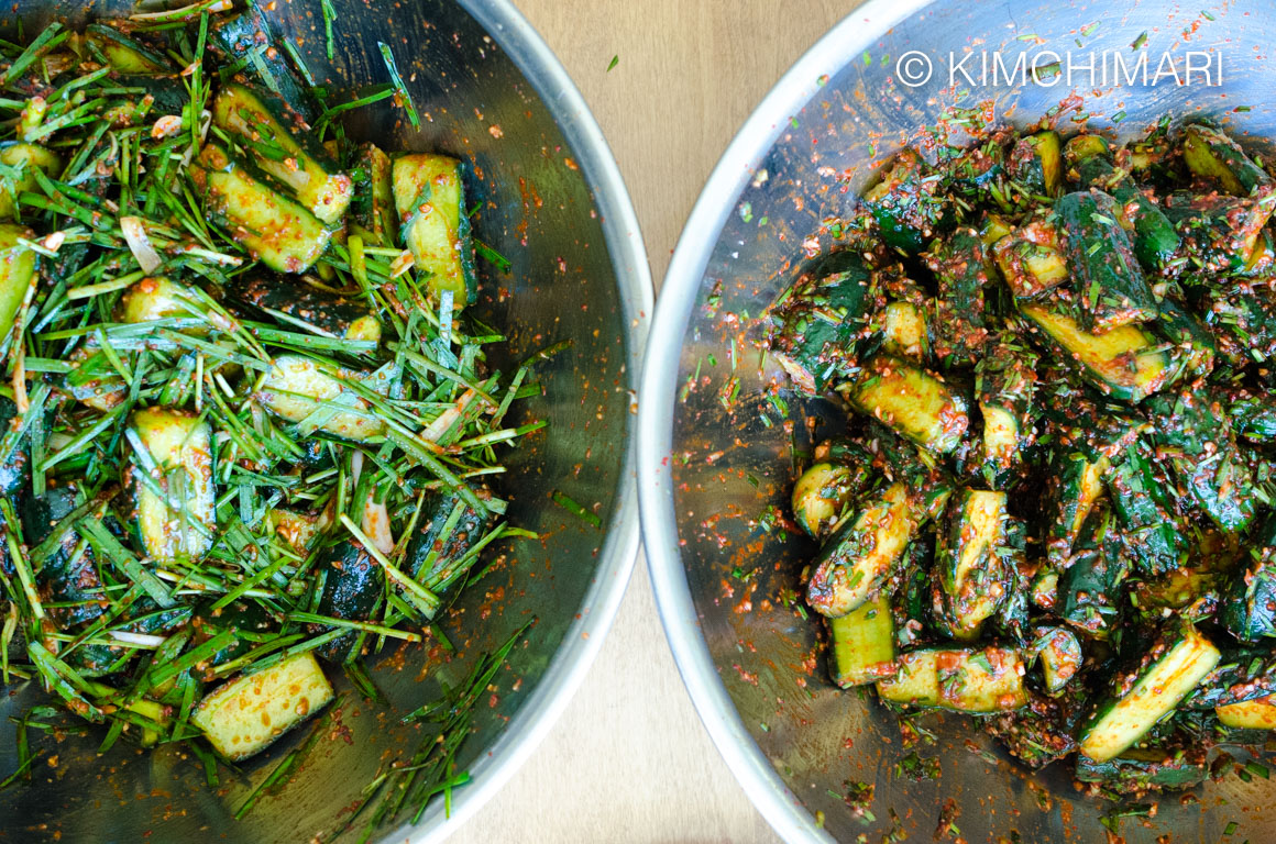 cucumber kimchi 2 styles - chopped chives vs longer cuts