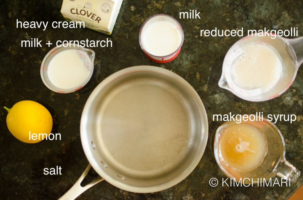 Makgeolli IceCream ingredients