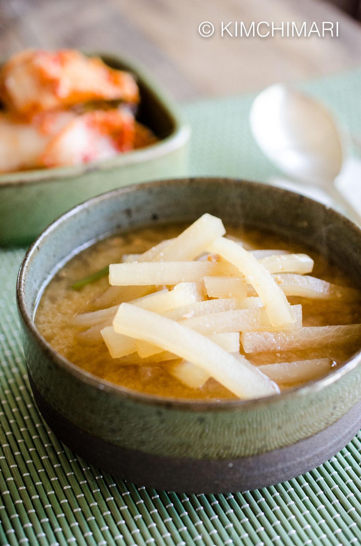 Radish Soup with Soybean Paste (Korean MuDoenjangGuk)