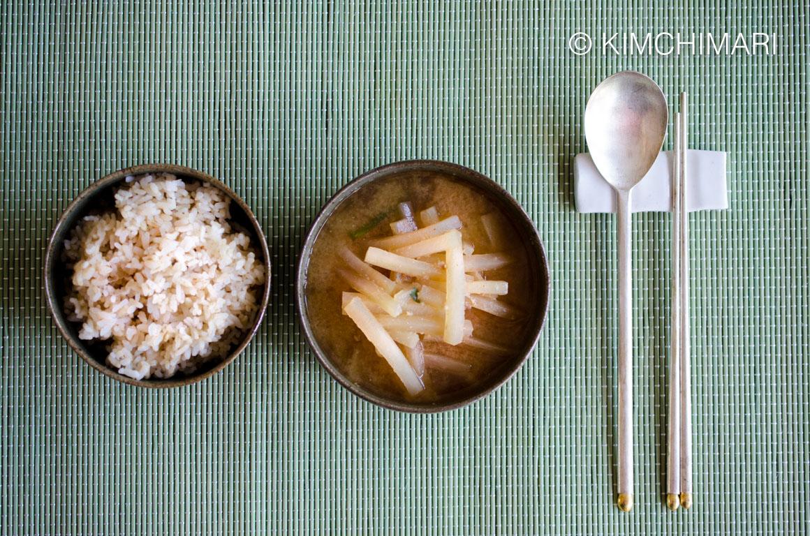 Radish Soup and Rice (Korean Mu Doenjang Guk)