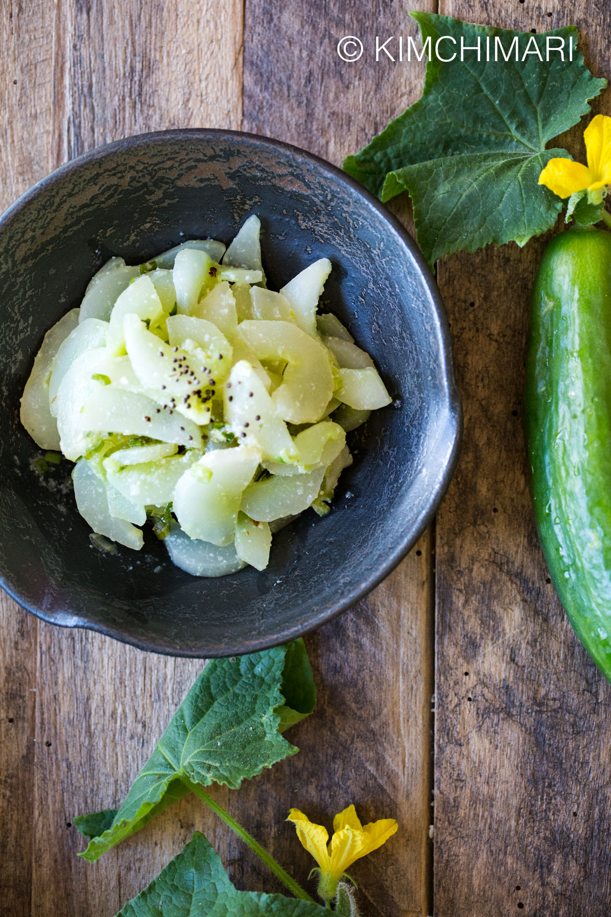 Cooked Cucumber - Nogak Namul - Korean recipe for overripe cucumbers