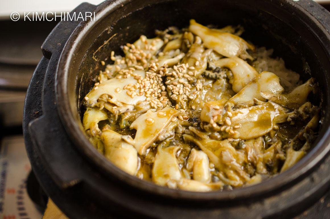 Abalone Dolsot Stone Pot Rice at Ohseong Shikdang, Jeju