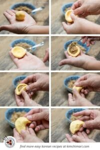 step by step pics of how to shape and stuff songpyeon with hands