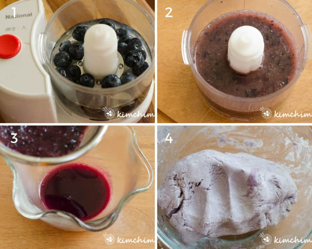 step by step pics of blending blueberries and making purple dough