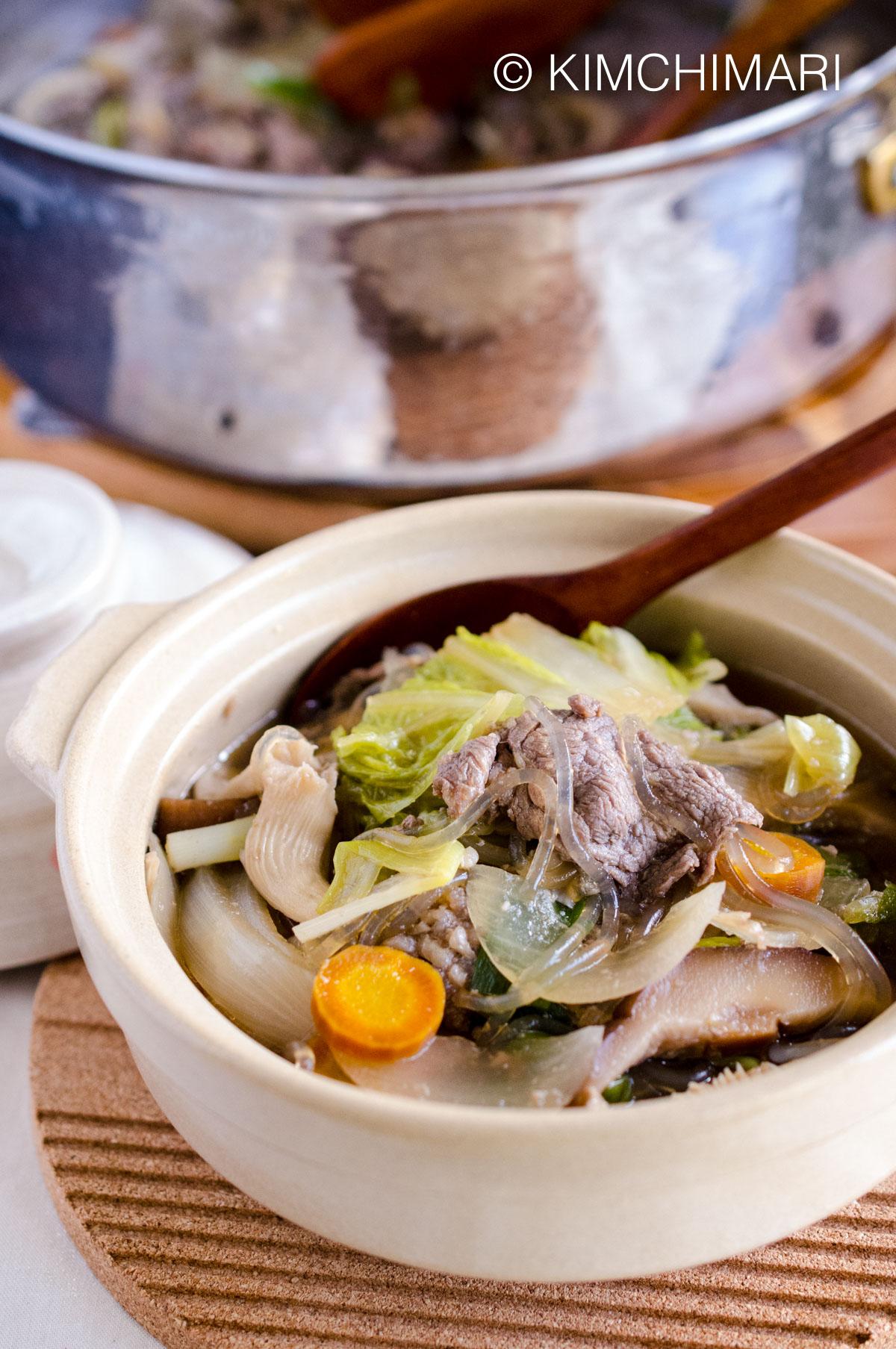 Bulgogi Hot Pot Jeongol with Glass Noodles and Vegetables