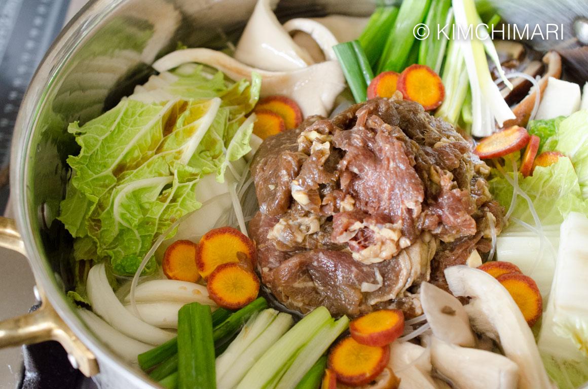 Bulgogi Hot Pot - Jeongol Ingredients with sauce added