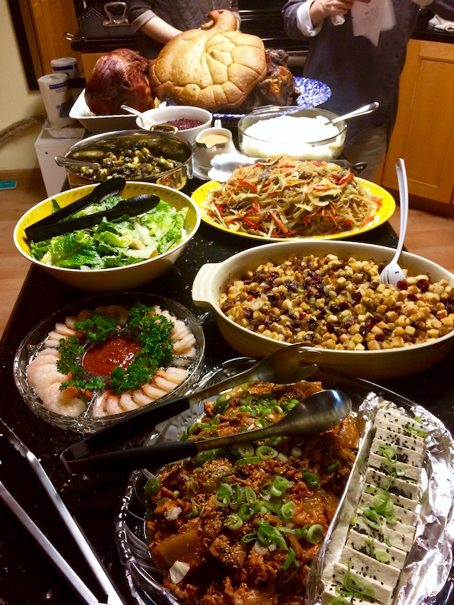 Korean Thanksgiving dinner buffet table