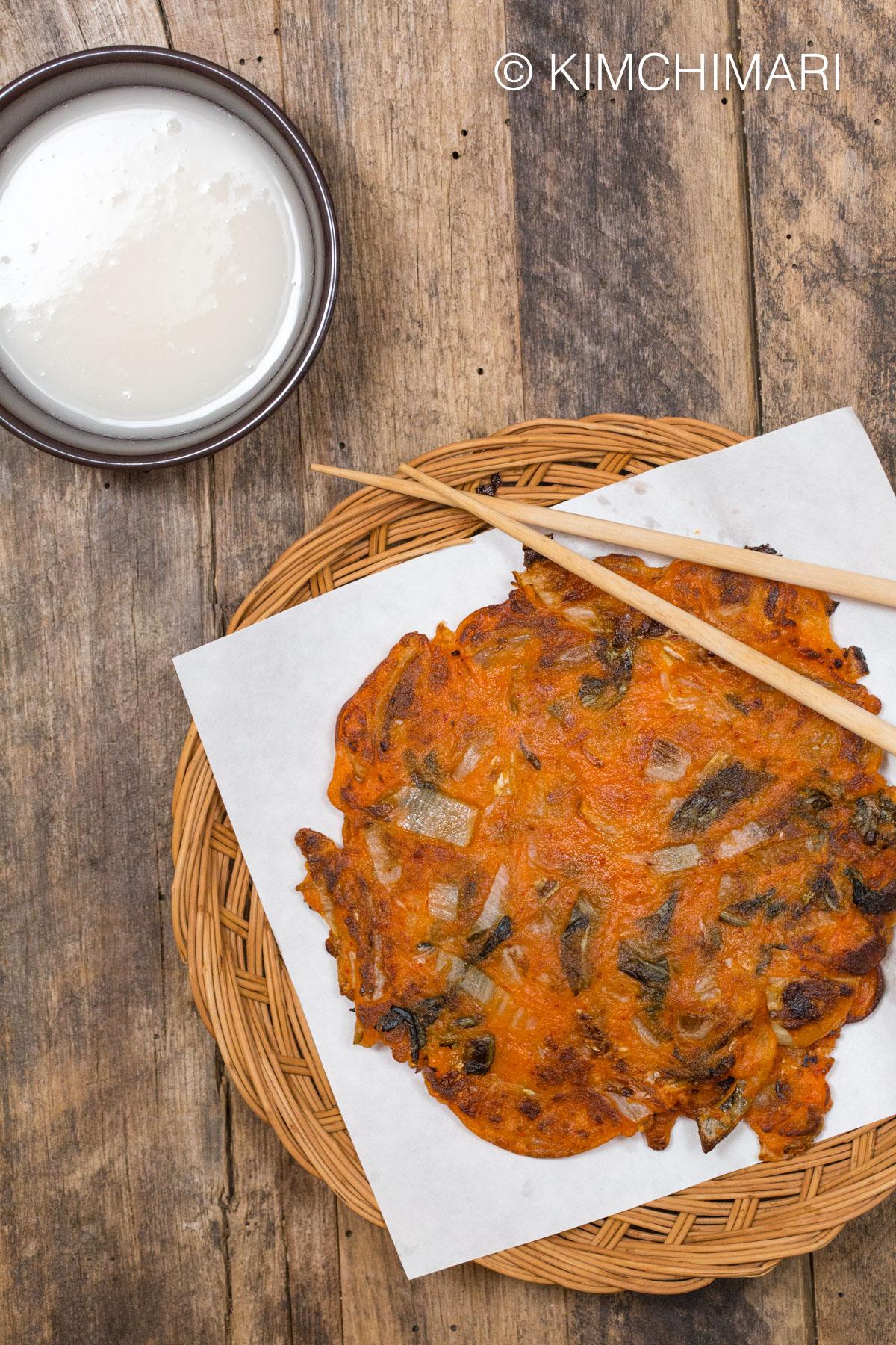 Kimchi Jeon Pancakes with Makgeolli