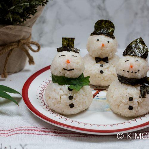 Snowman Rice Balls decorated with gim (nori)