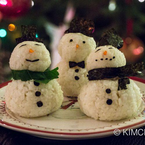 Snowman Rice Balls Christmas