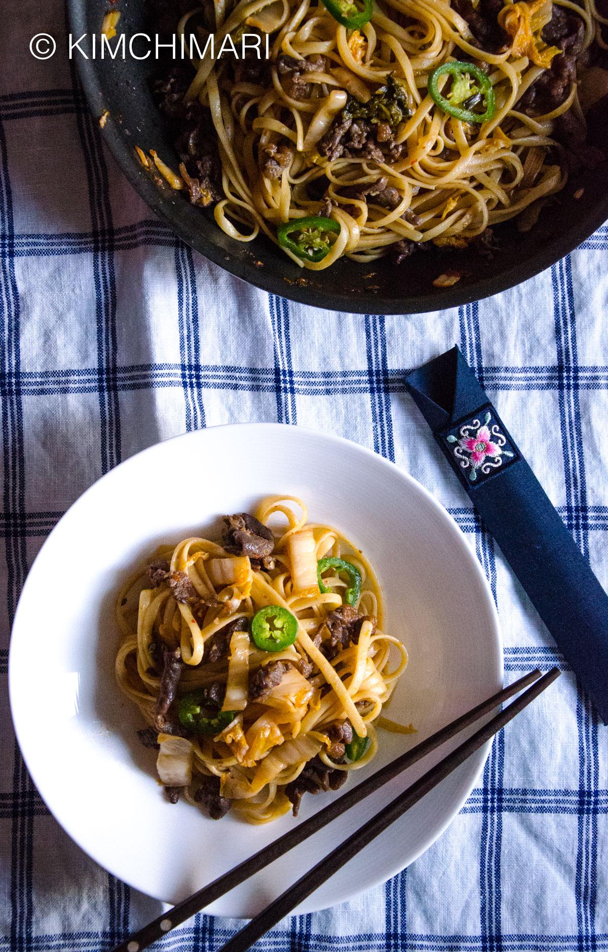 Bulgogi Kimchi pasta with Jalapeno