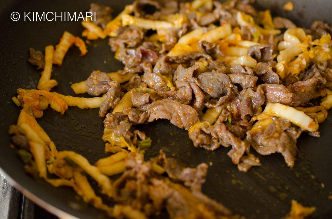 Sauteeing Kimchi and Bulgogi for pasta