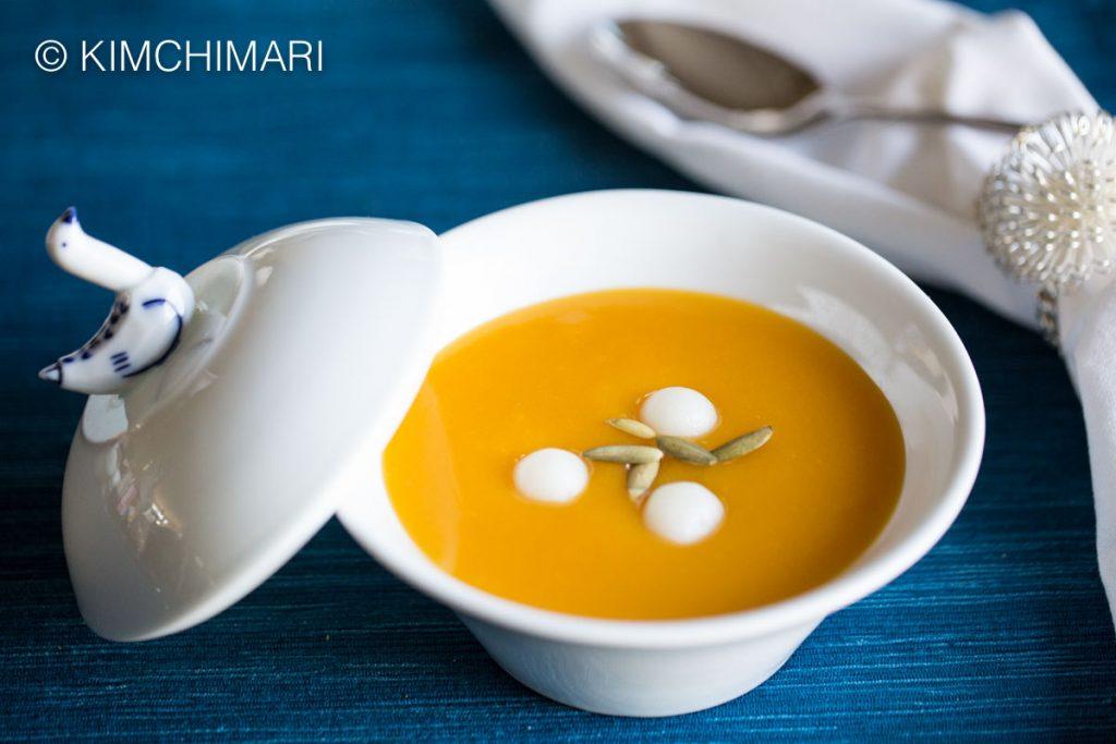 HobakJuk (Korean Pumpkin Porridge) made from Kabocha Squash