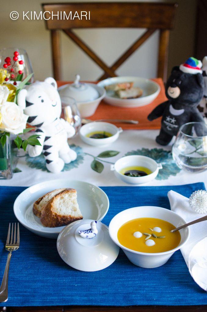 HobakJuk served for Winter Olympic Progressive Dinner Table SettingHobakJuk served for Winter Olympic Progressive Dinner Table Setting