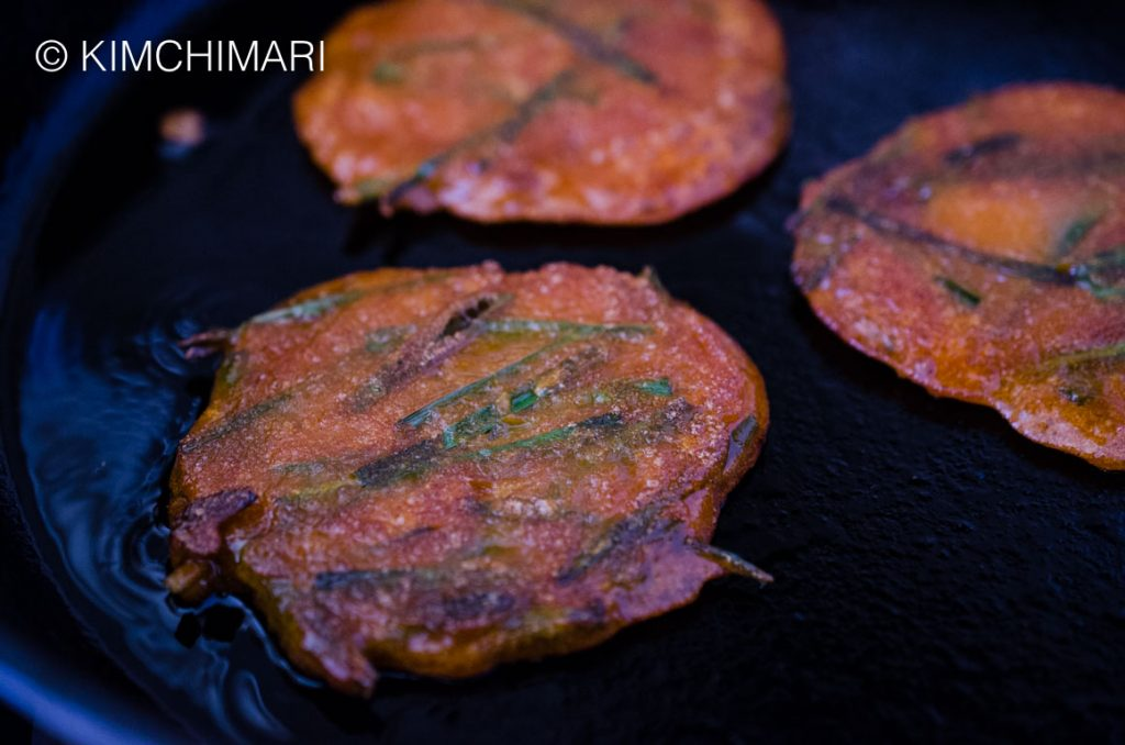 Gochujang Pancake in frying pan