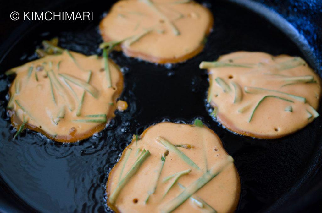 Gochujang Pancake frying in Pan
