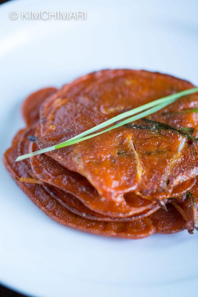 Gochujang Pancakes (Jangtteok) with Chives