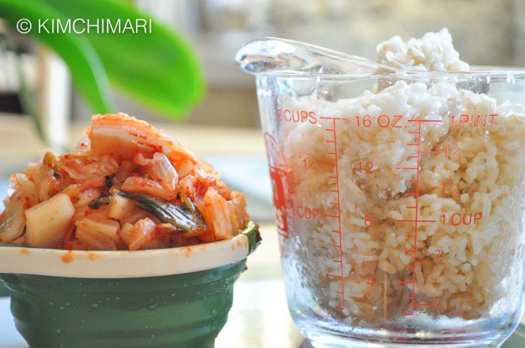 Kimchi Fried Rice Ingredients - Rice and Kimchi