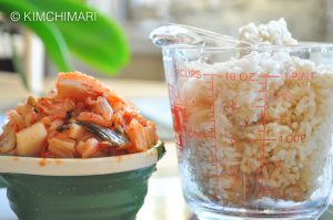 cold rice and cut kimchi in measuring cups