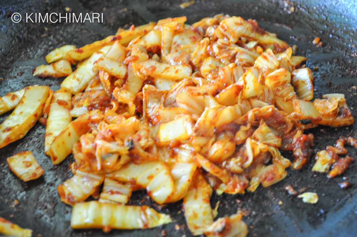 Sauteed Kimchi in frying pan