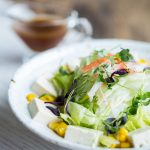 Tofu Salad with Iceberg Lettuce, Sweet Corn, Imitation Crab Meat, Microgreens