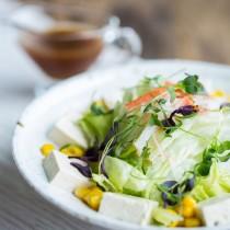 Tofu Salad with Iceberg Lettuce, Sweet Corn, Imitation Crab Meat, Microgreens