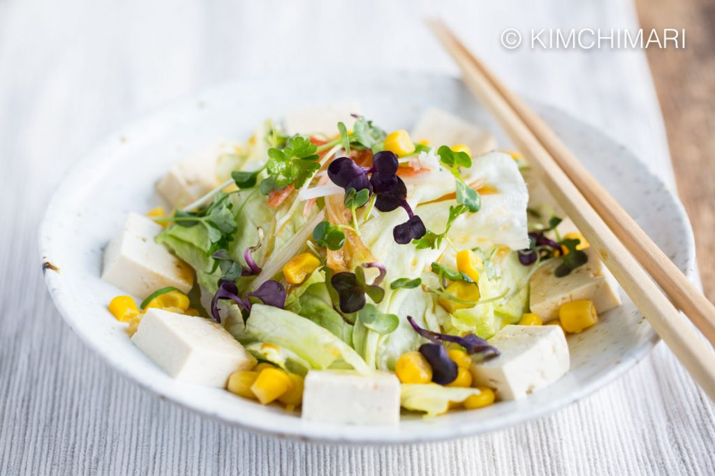 Tofu Salad with Iceberg Lettuce, Sweet Corn, Daikon Sprouts