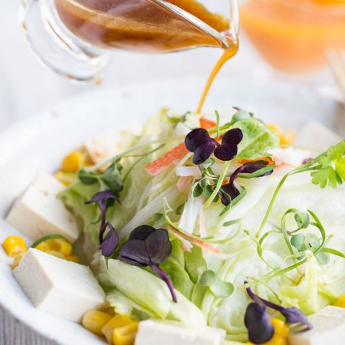 Tofu Salad Iceberg Lettuce Sweet Corn with Soy Dressing