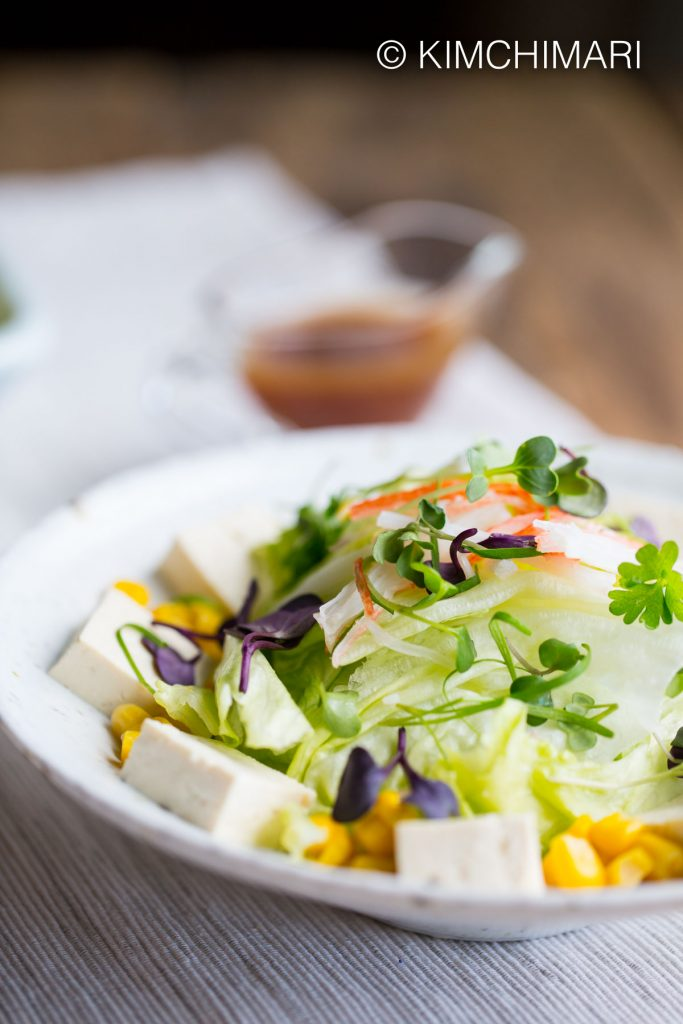 Tofu Salad with Iceberg Lettuce, Micro Greens with Soy Mustard Dressing