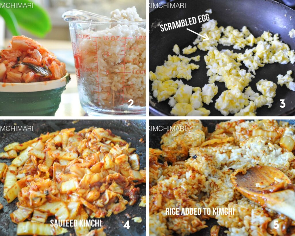 steps of sauteeing kimchi, egg and rice in pan