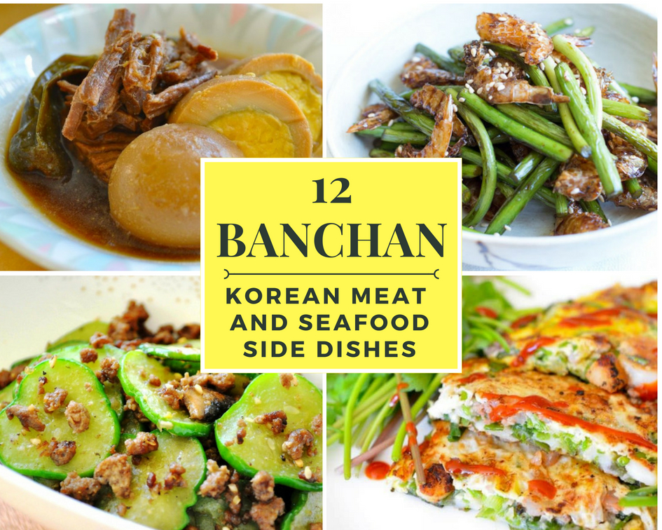 Collage image of meat and seafood banchan with title for 12 side dishes
