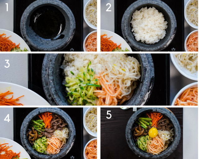 Step-by-step pics of how to add rice and toppings to dolsot bibimbap