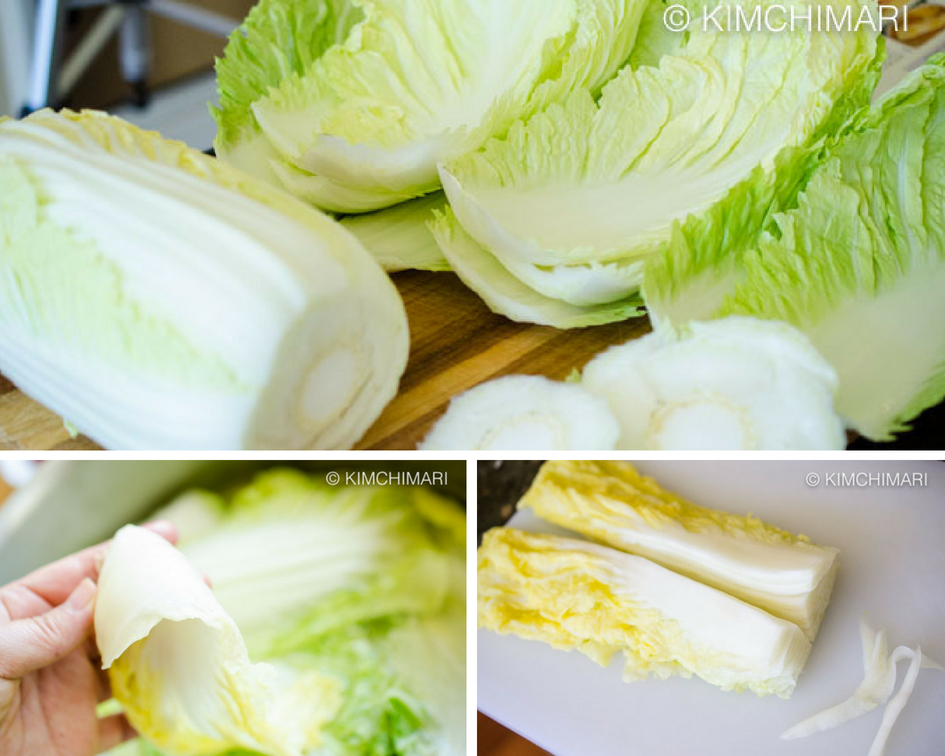 3 photos of napa cabbage leaves, pickling them in brine and slicing in half for bossam