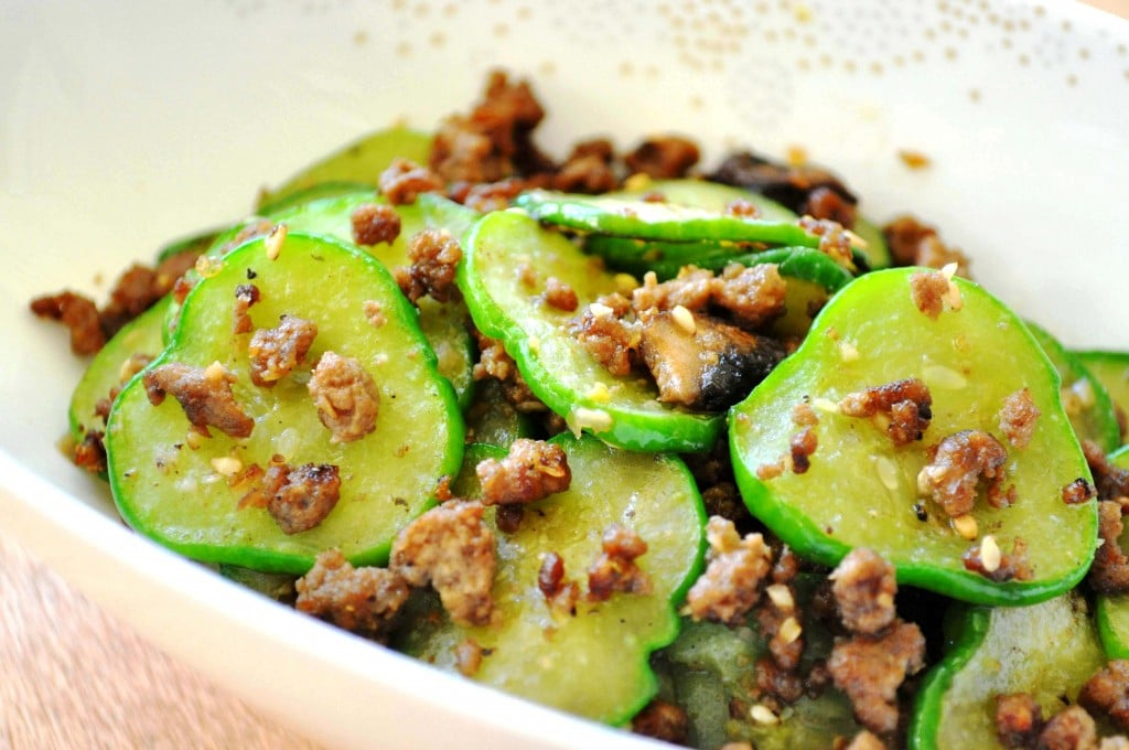 Stir-Fried Cucumbers with ground beef close up