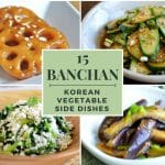 Collage image of 4 different veg side dishes and text that says 15 banchan recipes